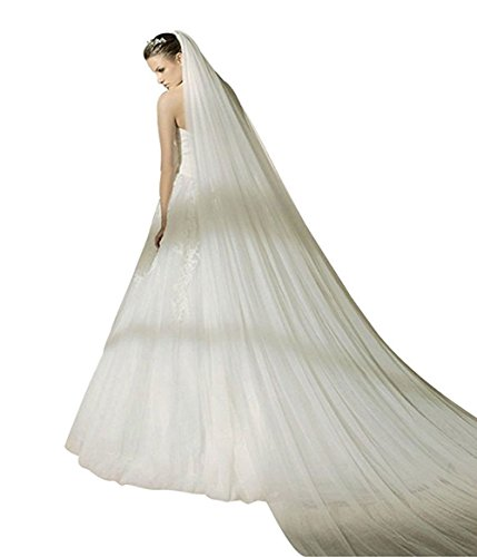 Bridal Wedding Veil 1T Trailing Long Cut Edge with Comb White Ivory (Ivory, 3T) by WOWBRIDAL
