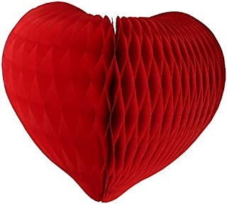 product image for 3-pack Mini 8 Inch Honeycomb Tissue Paper Hearts (Red)