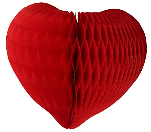 Heart Shaped Decorations - 3-pack Large 12 Inch Honeycomb Heart Decoration (Red)