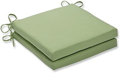 Pillow Perfect Outdoor Indoor Tweed Lime Squared Corners Seat Cushion 20x20x3 Set of 2 ,Green