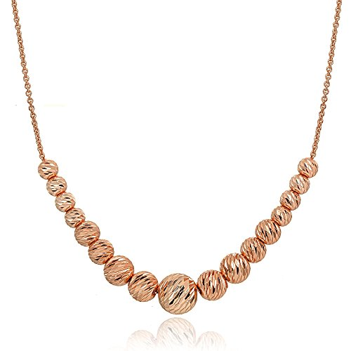 Rose Gold Flashed Sterling Silver Diamond-Cut Sliding Graduated Beads (Gold Graduated Bead Necklace)