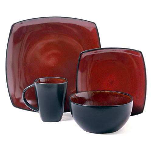 Dinnerware Set. 16 Piece Square Dinner Dish Kit For 4. Red & Black, Bold, Home Kitchen Everyday Dishware Dining Plates, Bowls, Mugs. Contemporary Style, Ceramic Tableware, Dishwasher, Microwave Safe.