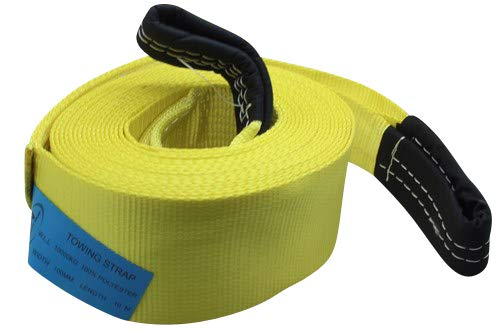 26.24ft 8m DiversityWrap 13.5T Tow Strap Heavy Duty Tow Rope Towing Pull Strap Recovery Winch 4x4 Offroad With 2x Shackles Yellow