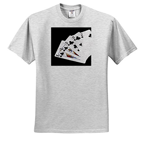 3dRose Alexis Photo-Art - Poker Hands - Poker Hands Flush Spades - T-Shirts - Adult Birch-Gray-T-Shirt 2XL (TS_270316_22) (Birch Flush)