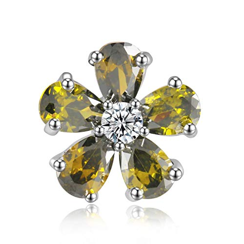 CZ Flower Brooch Pins For Women Fashion Jewelry Enamel Pin Badge Clip(Green)