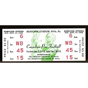 1958 CFL Full Ticket Hamilton Tiger Cats v Ottawa Rough Riders NMT 43558