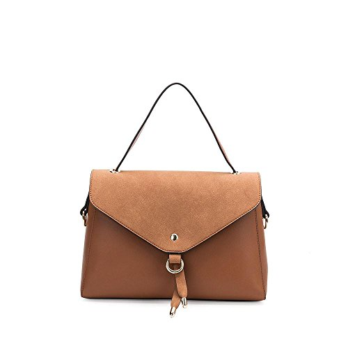 Melie Bianco Messenger (Melie Bianco Maiya Medium Size Women's Structured Crossbody Shoulder Bag - Saddle)