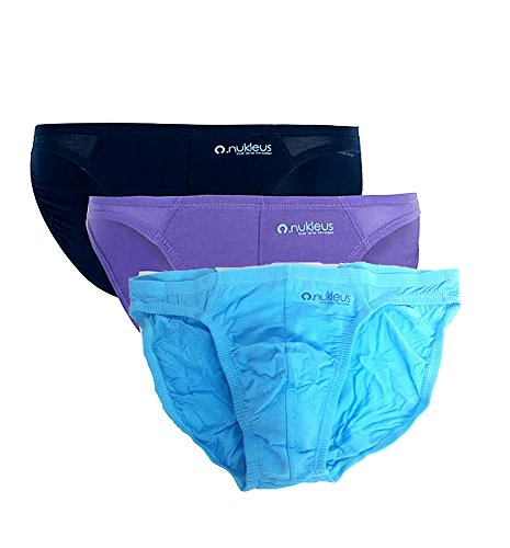 3x Nukleus Men's Mini Brief Premium Bamboo Silk 100% Organic Ultra Soft Plain