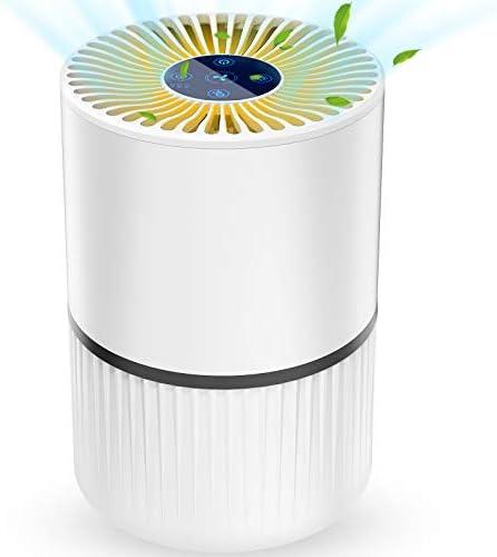 Purificateur d'Air Anion, Air Ioniseur Maison avec Filtre à Charbon, 5 Etapes de Filtration, Economie d'Energie min 0,24 W, 3 Vitesses et 2/4/8H Minuterie, Veilleuse, sans Ozone, 99,97% Eliminés