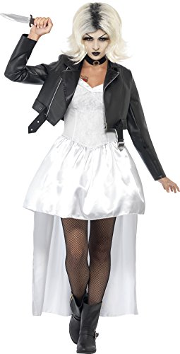 Smiffys Women's White Bride Of Chucky Costume - US Dress (The Bride Of Chucky Halloween Costumes)