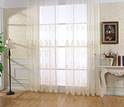 HooHero European Floral Embroidered Sheer Curtains Rod Pocket Semi Voile Drapes Panels for Living Kids Room Bedroom Kitchen (1 Panel, W 100 x L 102 inch, Yellow)