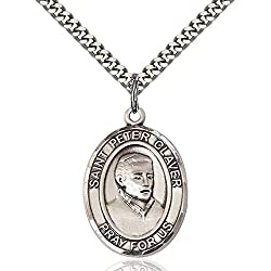 Sterling Silver St. Peter Claver Pendant 1 X 34 Inches With Heavy Curb Chain