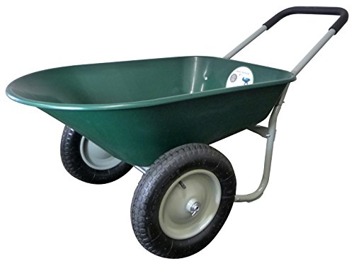 Marathon Dual-Wheel Residential Yard Rover Wheelbarrow - Green - 5 Cubic Foot Poly Tray