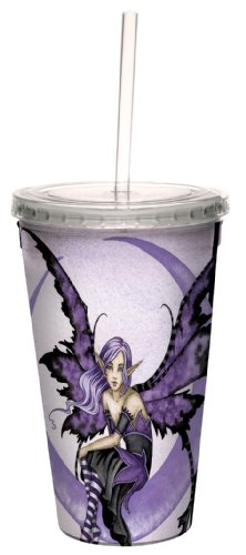 (Fantasy Fairy Cute Moon Sprite Double Walled Travel Cup with Straw by Amy Brown, 16-Ounce - Gift for Lovers of Fairies, Tree-Free Greetings)