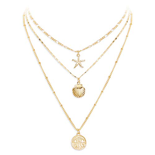 LILIE&WHITE Coin Pendant Necklace with Sea Star Charms and Metal Shell Necklace Jewelry for Women Gold Layered Necklace Y Shape Necklace (Pattern White Gold Necklace)