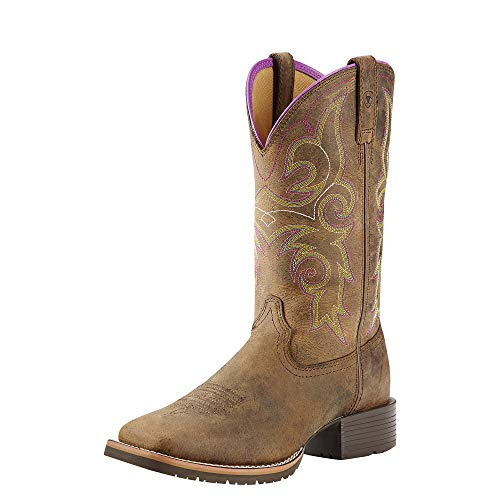 Ariat Women's Hybrid Rancher Western Cowboy Boot, Distressed Brown/Hot Leaf, 7.5 B US (Metatarsal Western Boots)