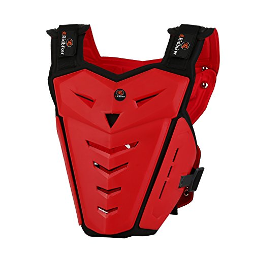 (RIDBIKER Motorcycle Armor Vest Motorcycle Riding Chest Armor Back Protector Armor Motocross Off-Road Racing Vest,Red)