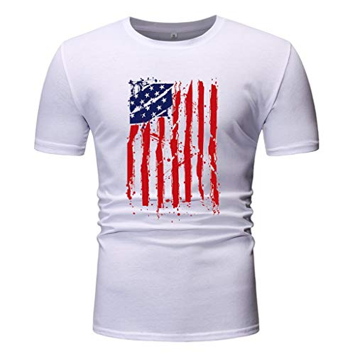 (USA litary American Skull Flag Patriotic Men's T Shirt Short Sve Slim Fit O-Neck Tees Tops Blouses)