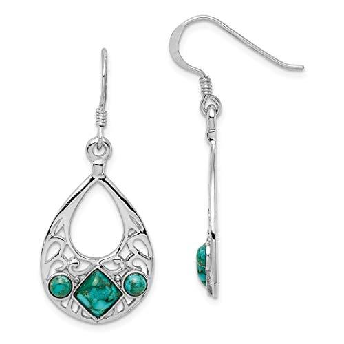 925 Sterling Silver Reconstituted Blue Turquoise Shepherd Hook Drop Dangle Chandelier Earrings Fine Jewelry For Women Gift ()
