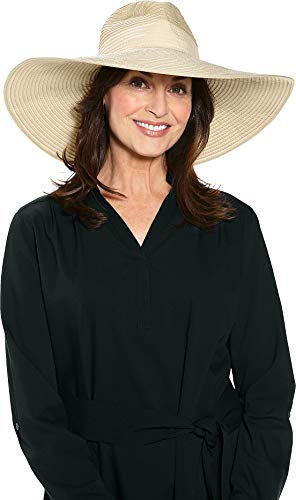 Coolibar UPF 50+ Women's Novara Wide Brim Hat - Sun Protective (One Size- Natural Colorblock)
