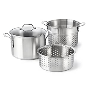 Calphalon Classic Stainless Steel 8 quart Stock Pot with Steamer and Pasta Insert