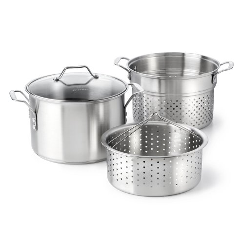 Calphalon Classic Stainless Steel 8 quart Stock Pot with Steamer and Pasta Insert Calphalon Stainless Steel Contemporary Skillet