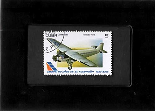 Tri Motor Aircraft - Tchotchke Framed Stamp Art- Cuba Postage Stamp - Ford Tri-Motor Airplane