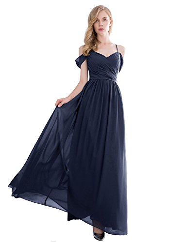 Gardenwed Gorgeous Off The Shoulder Long Prom Dress Chiffon Bridesmaid Dress Navy Size 16