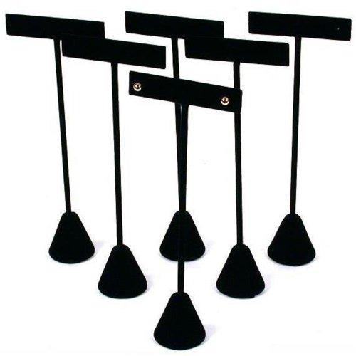 Velvet Earring Stand (6 Earring T Stand Black Velvet Showcase Display 6.75