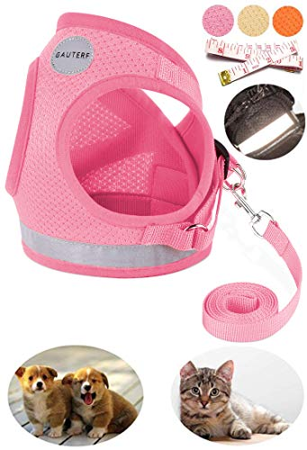 GAUTERF Dog and Cat Universal Harness with Leash Set, Escape Proof Cat Harnesses - Adjustable Reflective Soft Mesh Corduroy Dog Harnesses - Best Pet Supplies (X-Small, Pink+Ruler) from GAUTERF