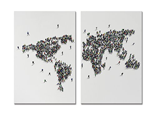 SEVEN WALL ARTS - General World Map 2 Piece Modern Decorative Artwork 100% Handpainted Unique Wall Art on Canvas for Home Decoration 24x36x2pcs Inch