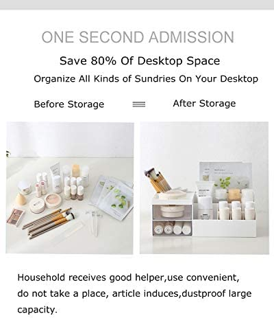 Multifunction Desk Organizer, BREIS Makeup Storage for Eyeshadows, Concealers, Powders, Nail Polish,9.65''x 4.8''x 3.67''