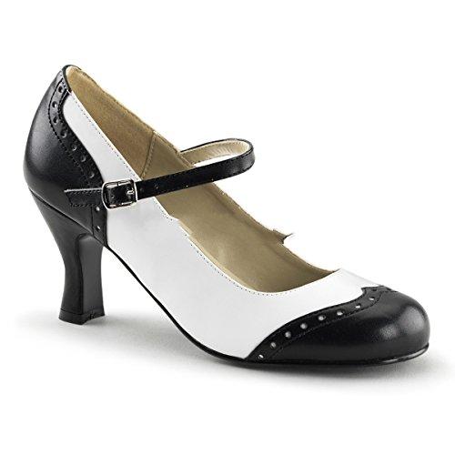 Fun tasma Flapper de 25Sexy Retro Mary Jane High Heels riemchen Pumps Negro Blanco 36–