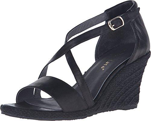 David Tate Women's Salma Espadrille Sandal,Black Naked Buffalo Leather,US 10 N Leather Naked Buffalo