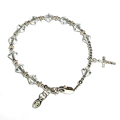 Children's Sterling Silver First Communion Rosary Bracelet with Swarovski Crystals and CZ Cross (First Communion Crystal)