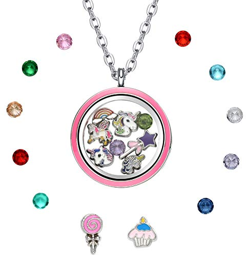 Pink Unicorn Floating Charm Memory Locket Pendant Necklace with 4 Unicorn Charms (Pink Round (Cupcake Charm Necklace)