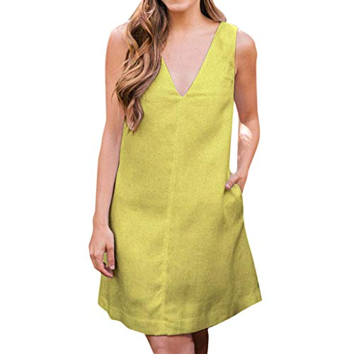 Funnygals Casual Shirt Dress for Women Loose Summer Dress Sleeveless V-Neck Basic Tops Mini Shift Dresses with Pockets Yellow