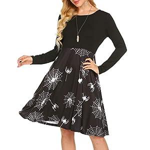 Women's Long Sleeve Halloween Pumpkins Print Swing Dress Sexy Backless Criss Cross Party Dress