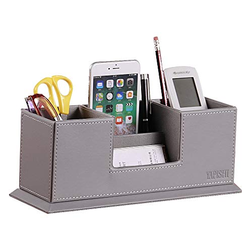 YAPISHI Pen Holders, Multifunctional Office Desk Supplies Organizer with Business Card Holder, PU Leather Desktop Storage Box Decorative Nightstand Caddy for Home/Workplace/Stationery/Remote Control