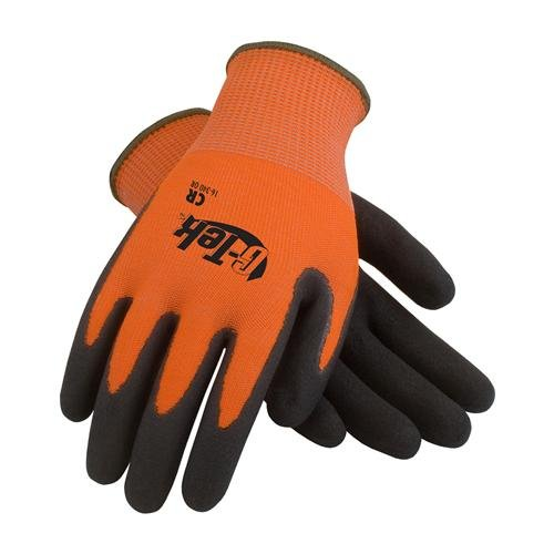 G-Tek CR, Hi-Vis Orange HPPE/Glass 13 Gauge Seamless Shell, Double Dipped Black Micro-Surface Nitrile Coated Palm and Fingers, XL