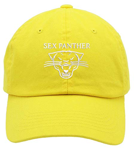 TOP LEVEL APPAREL Old School Sex Panther Embroidered Low Profile Soft Crown Unisex Baseball Dad Hat Yellow -