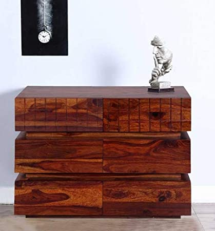 Shilpi Hand Carved Attractive Look Chest of Six Drawer Made in Sheesham Wood Natural Brown Finishing Touch