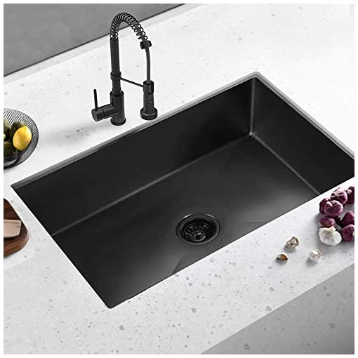 Kitchen ALWEN 33″ x 21″ x 10″ Undermount Kitchen Sink 16 Gauge Stainless Steel Single Bowl Kitchen Sink Gunmetal Black Nano Surface Modern Luxury Sink modern kitchen sinks
