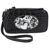 Swinglet Cell Phone Case- Silver Hardware- Black Croc Emboss- Black and White Flower