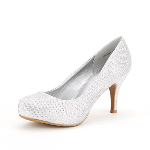 (DREAM PAIRS Tiffany Women's New Classic Elegant Versatile Low Stiletto Heel Dress Platform Pumps Shoes Silver Size 7)