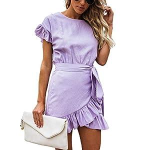 Relipop Women's Dress Solid Fishtail Short Sleeve Wrap Ruffle Hem Mini Short Dresses