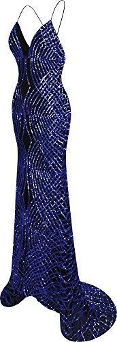 Sequin Sweep Spaghetti Strap Gown Navy Mermaid Ball Angel Neck Women's Train fashions Long V ZnzqfIa