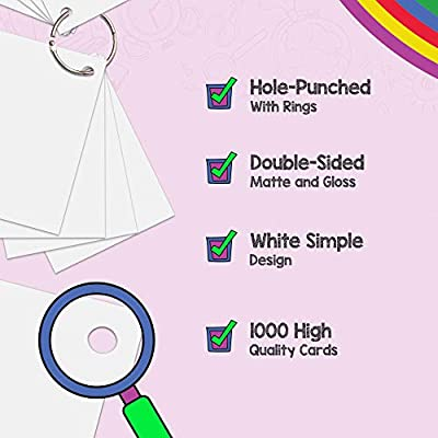 Star Right Blank Flashcards - White | 1000 Hole-Punched Cards with 10 Metal Sorting Rings | for School, Learning, Memory, Recipe Cards, and More: Toys & Games