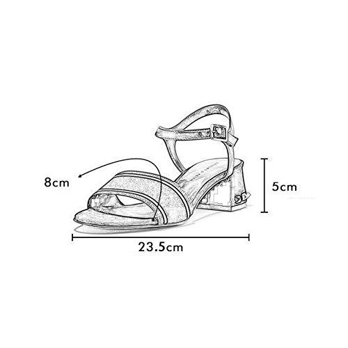 Abierta Cómodo Casuales Temporada Punta Bajo Fiesta Talón Rojo Remaches Bloque Mujer Sandalias De WYYY Playa De Gamuza Zapatos Verano Individuales Zapatos Retro Zapatos De Z6tTq7w