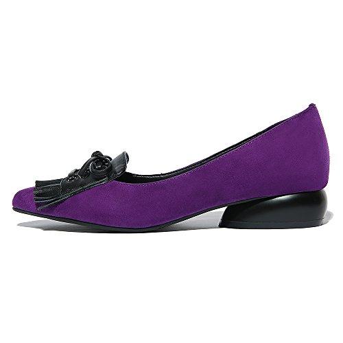 Nine Seven Cuero Moda Puntiagudos Bailarinas Planos Cómodos con Flescos para Mujer Violeta
